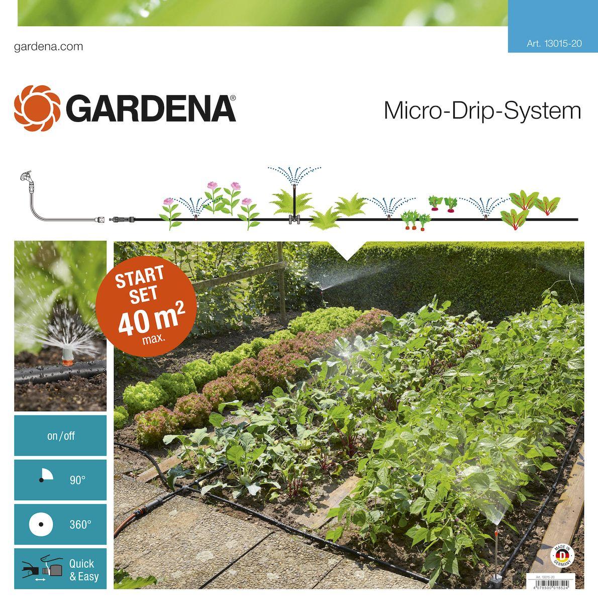 Шланг сочащийся Gardena с фитингами, 13 мм (1/2) х 40 м13015-20.000.00Шланг сочащийся Gardena является элементом системы микрокапельного полива Gardena и оптимально подходит для полива грядок площадью до 40 м2. Наличие распыляющих микронасадок позволяет бережно поливать рассаду и капризные растения. В комплекте: - мастер блок 1000; - магистральный шланг 25 м; - микронасадка 90°, 4шт; - микронасадка 360°; - надставка для микронасадки, 5 шт; - запорных кран, 5 шт; - L-образный соединитель 13 мм (1/2), 2 шт; - крестовина 13 мм (1/2); - направляющие 13 мм (1/2), 5 шт; - заглушка 13 мм (1/2), 3 шт; - колышки для крепления шлангов 13 мм (1/2), 10 шт; - инструмент для сборки. Благодаря запатентованной технологии быстрого подсоединения Quick & Easy, все элементы легко соединяются и разъединяются.