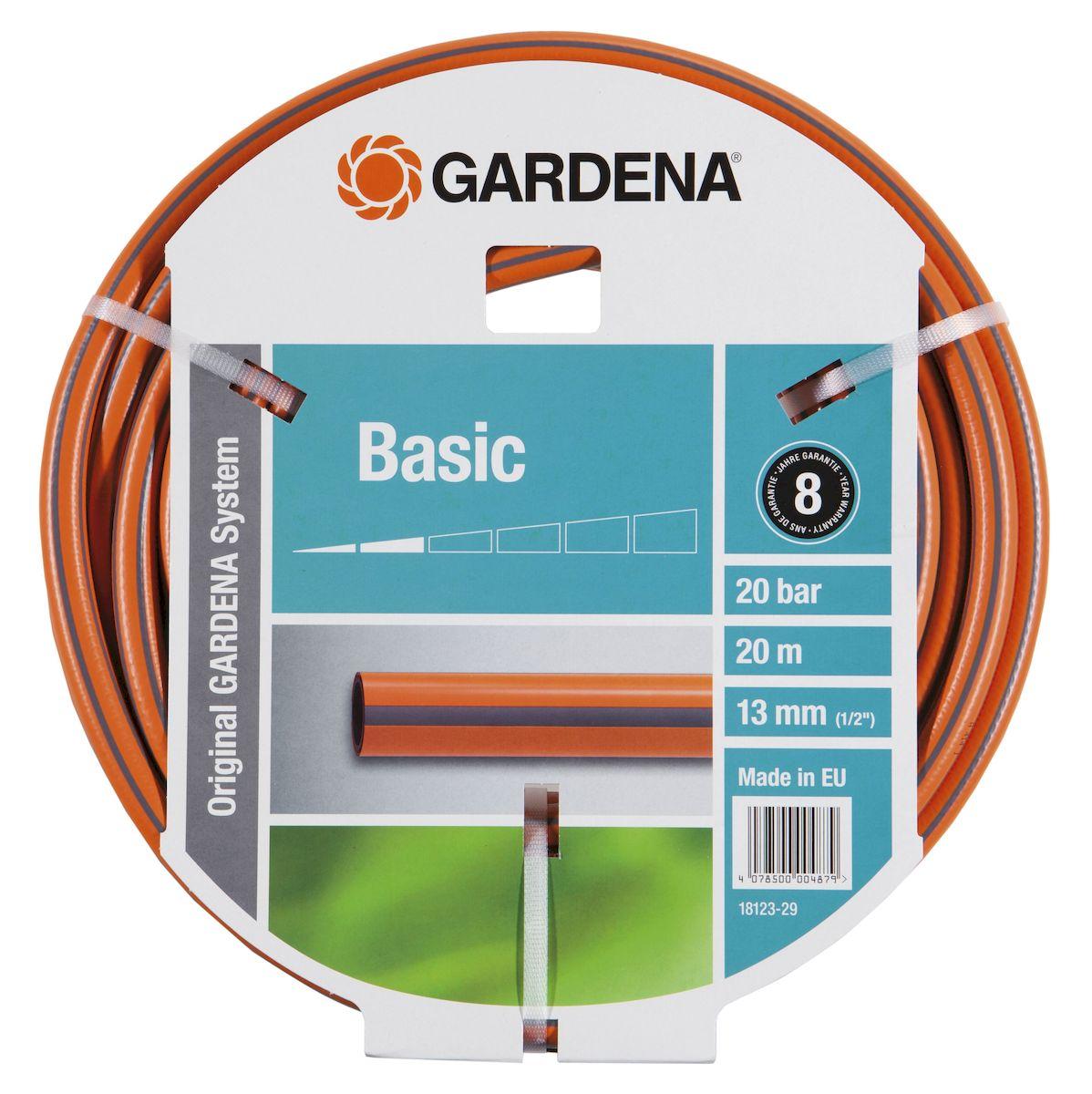 Gardena Шланг Basic 9 х 9, 1/2 х 20 м18123-29.000.00Отсутствие фталатов и тяжелых металлов, устойчив к УФ-излучению, ПВХ, Высококачественное спиралевидное текстильное армирование, выдерживает давление 22 бар.