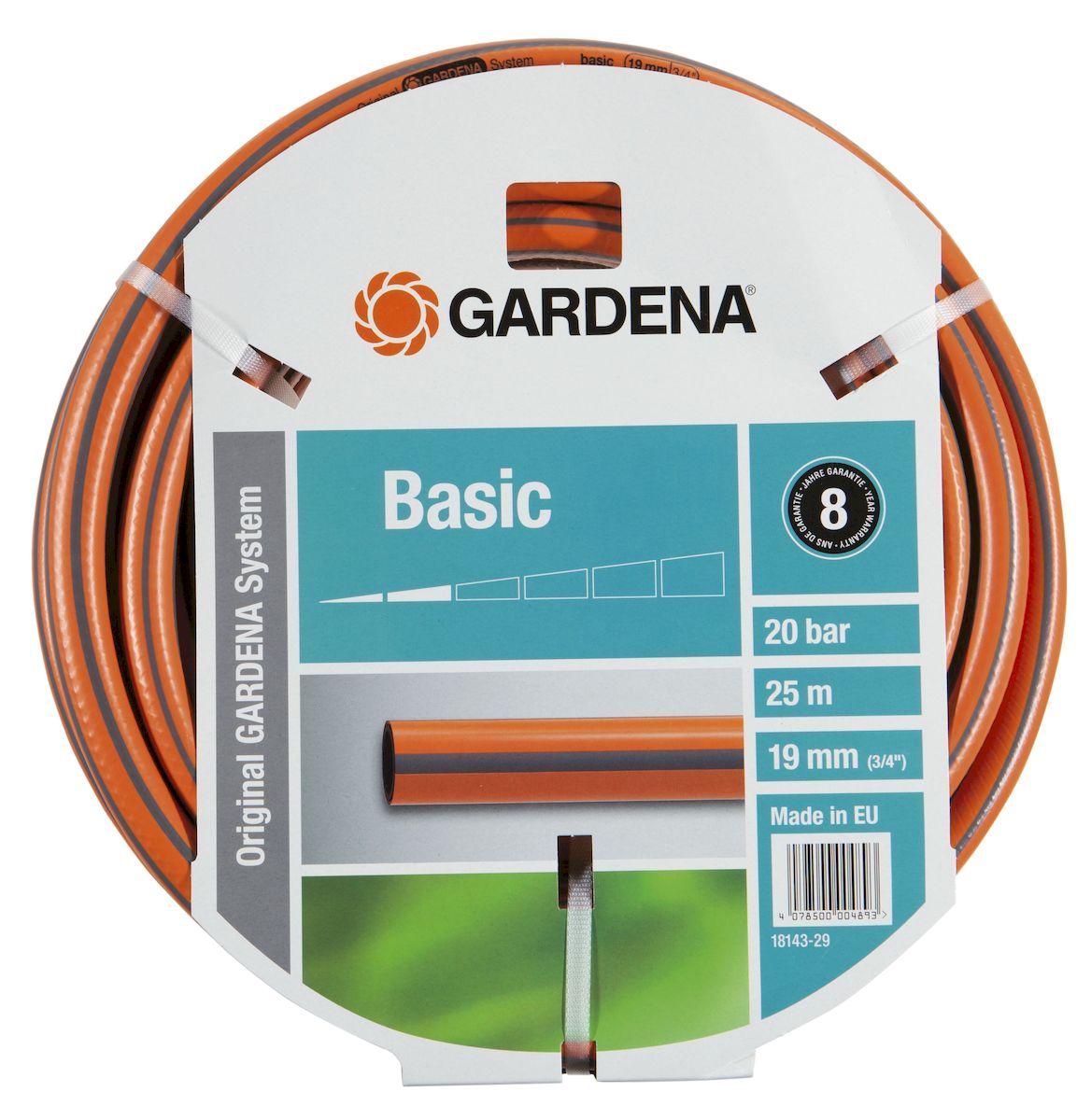 Шланг Gardena Basic, 19 мм (3/4) х 25 м18143-29.000.00Шланг Gardena Basic, прекрасно сохраняет свою форму благодаря высококачественному текстильному армированию, отсутствуют фталаты и тяжелые металлы, невосприимчив к УФ-излучению. Шланг не перегибается, не спутывается, не перекручивается, благодаря спиралевидному текстильному армированию, усиленному углеродными волокнами. Шланг Gardena Basic оптимально сочетается с компонентами базовой системы полива. Идеально подходит для умеренной интенсивности использования. Шланг Gardena Classic выполнен из высококачественного ПВХ и выдерживает давление до 22 бар. Толстые стенки шланга и высококачественные материалы обеспечивают длительный срок службы.