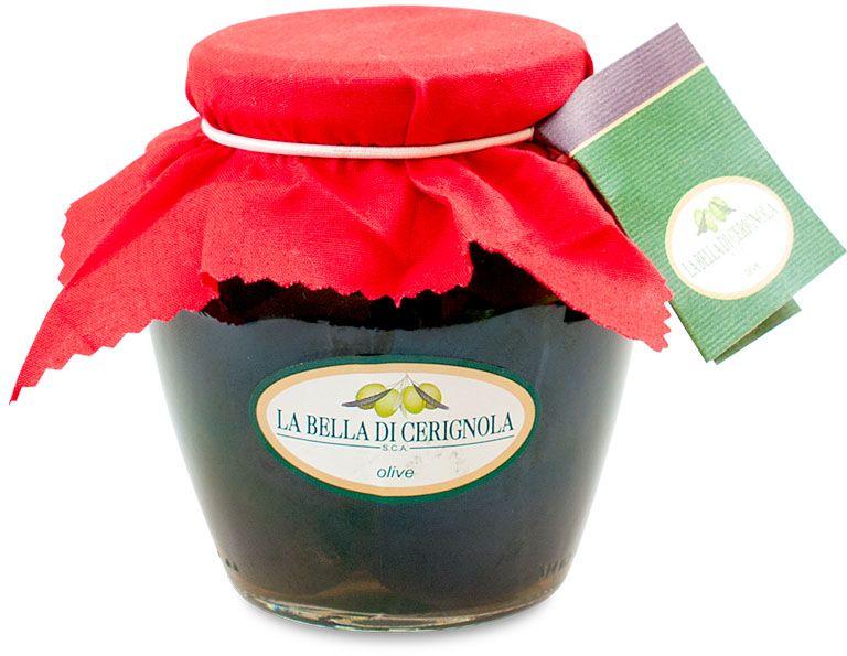 Bella Di Cerignola маслины черные, 180 г (банка-кувшин)