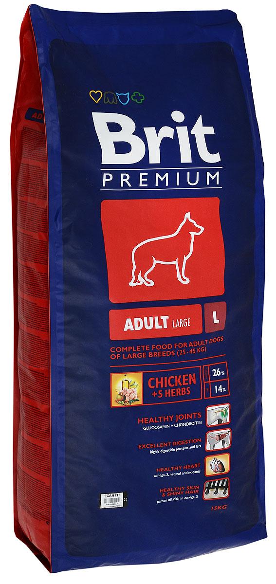 Корм сухой Brit Premium Adult L для взрослых собак крупных пород, с курицей, рисом и кукурузой, 15 кг132321Сухой корм Brit Premium Adult L - это полнорационный сухой корм с курицей, рисом и кукурузой для взрослых собак (1-7 лет) крупных пород весом от 25 до 45 кг. Корм подходит для следующих пород собак: Американский стаффордширский терьер, акита ину, аляскинский маламут, босерон, бельгийская овчарка, боксер, борзая, далматинец, доберман, аргентинский дог, английский сеттер, прямошерстный ретривер, немецкая овчарка, ризеншнауцер, золотистый ретривер, гордон сеттер, ховаварт, лабрадор ретривер, поинтер, родезийский риджбек, выжла, веймаранер. Состав: мука из мяса курицы (40%), рис, кукуруза, пшеница, куриный жир (консервированный токоферолами), масло лосося, пивные дрожжи, натуральные ароматизаторы, сушеные яблоки, минеральные вещества, экстракт из трав и фруктов (300 мг/кг), глюкозамин гидрохлорид (260 мг/кг), хондроитина сульфат (160 мг/кг), мананоолигосахариды (150 мг/кг), фруктоолигосахариды (100 мг/кг), экстракт юкки шидигеры (80 мг/кг), ...
