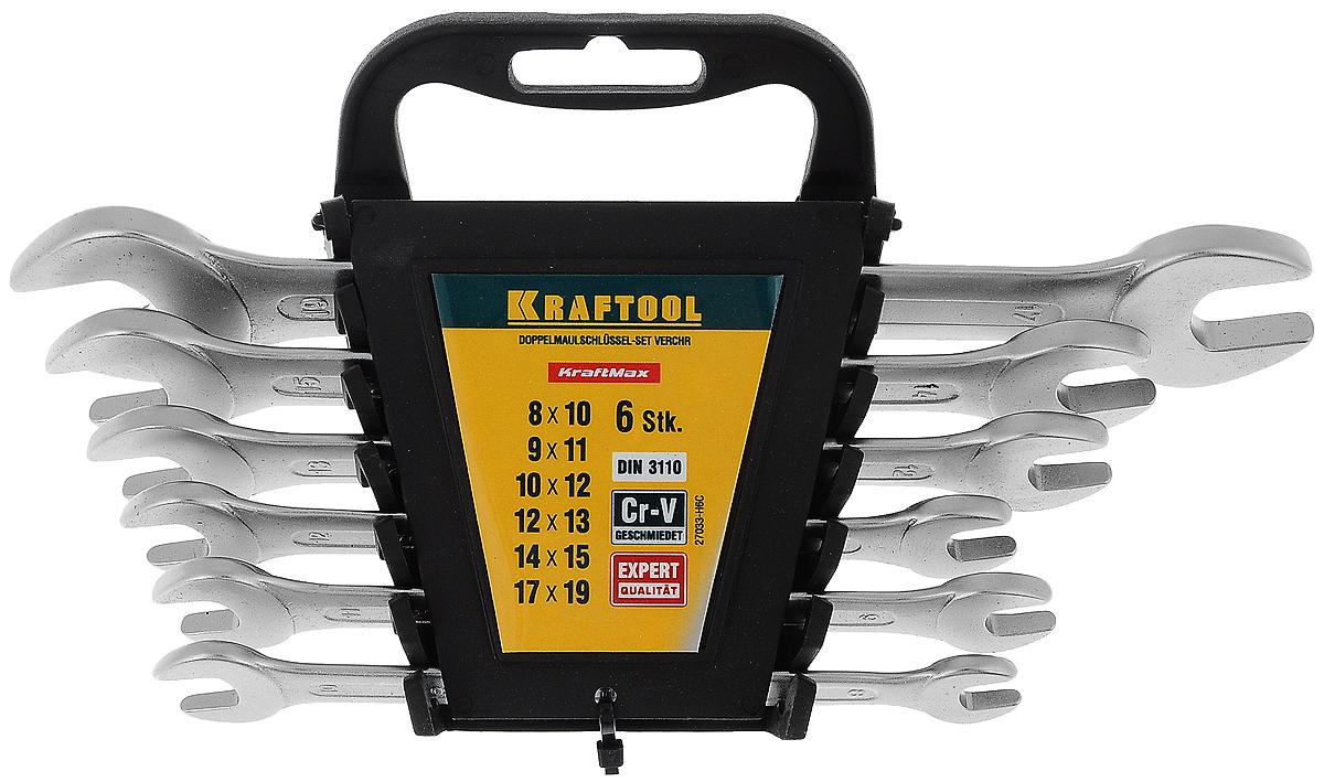Набор рожковых гаечных ключей Kraftool Expert, с подставкой, 8-19 мм, 7 предметов27033-H6CНабор Kraftool Expert включает 6 комбинированных гаечных ключей, выполненных из качественной стали. Благодаря правильному подбору материала и параметров технологического процесса ключи выдерживают высокие нагрузки, устойчивы к истиранию рабочих граней. Применяются для работ с шестигранным крепежом. Комбинированный гаечный ключ - незаменимый инструмент при сборке и разборке любых металлических конструкций. Он сочетает в себе рожковый и накидной гаечные ключи. Первый нужен для работы в труднодоступных местах, второй более эффективен при отворачивании тугого крепежа. Для хранения набора предусмотрена пластиковая подставка.