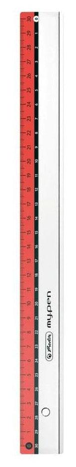 Herlitz Линейка My.pen 30 см цвет красный11367992Линейка Herlitz My.pen с делениями на 30 см имеет четкую миллиметровую шкалу делений и подходит для измерения длины или черчения. Благодаря двойной разметке ее могут с равным успехом использовать как правши, так и левши. Линейка изготовлена из прозрачного пластика и устойчива к деформациям. Herlitz My.pen идеально подойдет для любого школьника или офисного работника.