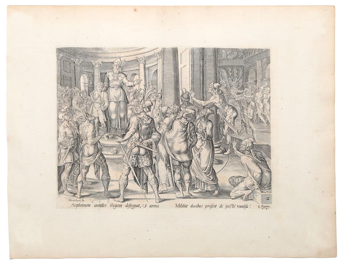 Представление Иоаса воинам на седьмой год его. Иллюстрация из Библии Пискатора. Офорт, резец. Нидерланды, середина XVII века
