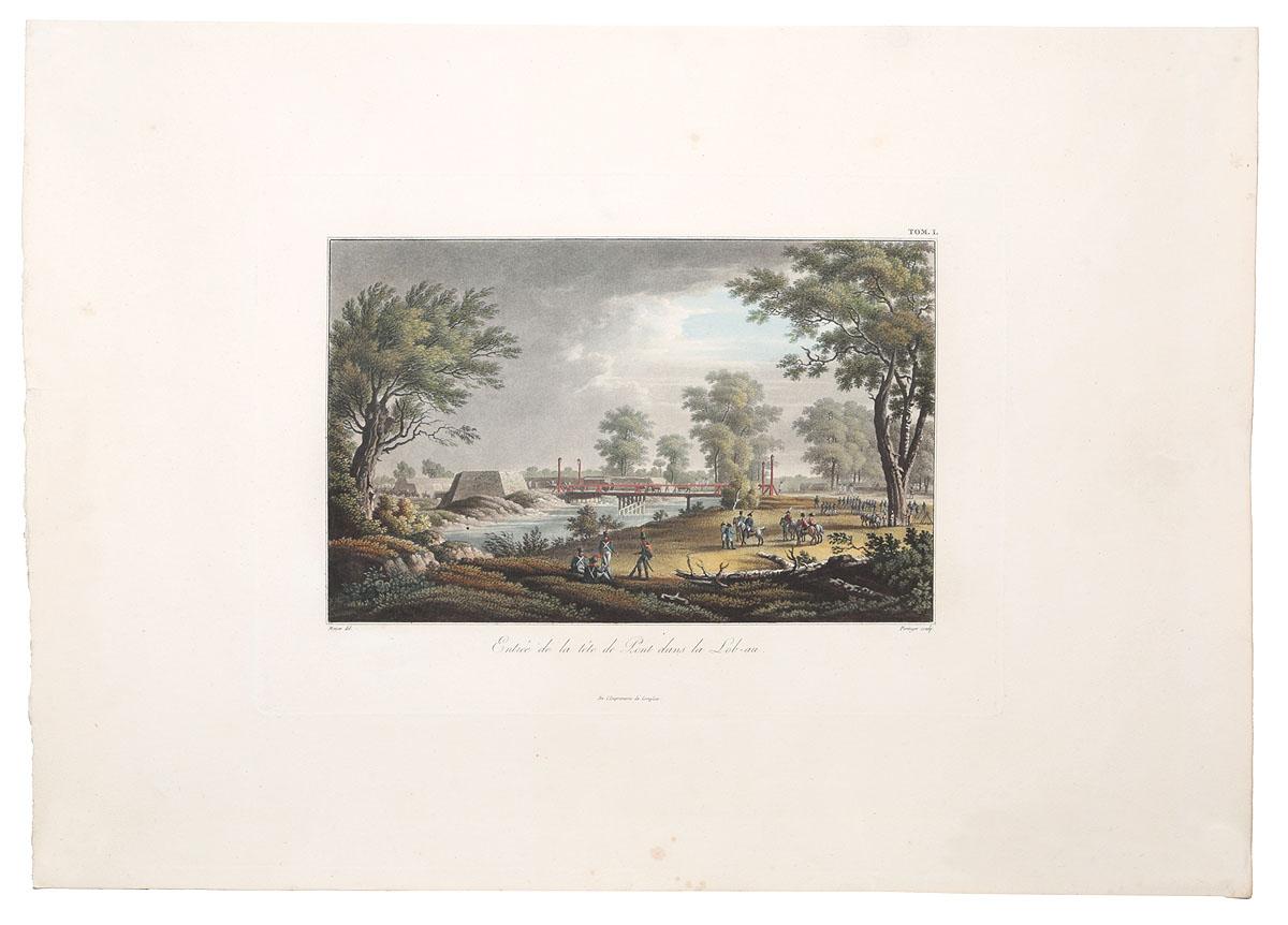 Вход на плацдарм на острове Лёбау. Асперн-Эсслингская битва между Наполеоном и эрцгерцогом Карлом, 1809 г. Гравюра, ручная раскраска. Западная Европа, около 1820 годаАККААРаскрашенная вручную гравюра первой трети XIX века. Художник - Mayer. Гравер - Pringer. Размер изображения: 18 х 28.5 см. Сохранность хорошая. На гравюре запечатлен один из моментов Асперн-Эсслингской битвы между Наполеоном и эрцгерцогом Карлом, 1809 год, близ Вены. Асперн-Эсслингская битва - сражение, в котором Наполеон сделал попытку переправиться через Дунай и остаться незамеченным противником. Но ему это не удалось. Эрцгерцог Карл атаковал переправляющихся солдат наполеоновской армии. Эта битва была первой серьёзной неудачей Наполеона на поле боя (не считая Сирийского похода и осады Сен-Жан дАкра), однако фактически он не был разбит, а после битвы обе стороны вернулись на исходные позиции. Не подлежит вывозу за пределы Российской Федерации.