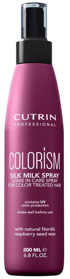 Cutrin Двухфазный спрей-кондиционер для окрашенных волос Colorism Silk-Milk Spray, 200 мл12625Cutrin COLORISM обеспечивает яркость и насыщенность цвета окрашенных волос с помощью комплекса ColorComplexTM: Система тройной защиты цвета поддерживает глубину и насыщенность цвета окрашенных волос с помощью комбинации антиоксидантов, УФ-фильтра и ухаживающих катионовых агентов. Шелковый протеин (серицин) увлажняет волосы и кожу головы, оказывает укрепляющее воздействие на структуру волос, придает потрясающий объемный блеск. Масло семян шиповника (жирные кислоты Омега-3, Омега-6) обеспечивает питание и уход для окрашенных волос, а также защищает их цвет от потускнения. Масло авокадо, глицерин и пантенол оказывают ухаживающий эффект не только на волосы, но и на кожу головы.