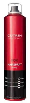 Cutrin Лак сильной фиксации Hair Spray Strong, 300 мл12760Обеспечивает сильную фиксацию, оставляя волосы подвижными и эластичными. Позволяет выполнять укладку непосредственно в процессе нанесения продукта. Легко удаляется при расчесывании. Пантенол и натуральный бетаин оказывают на волосы ухаживающий эффект.