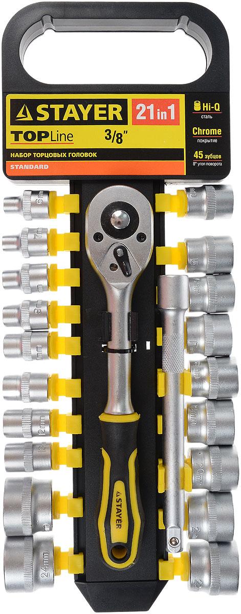 Набор инструментов Stayer Standard, 21 предмет27752-H21Набор слесарно-монтажного инструмента Stayer Standard предназначен для работы с резьбовыми соединениями. Торцевые головки имеют шестигранный зев и посадочное место для присоединительного квадрата 3/8. Трещотка с храповым механизмом устраняет необходимость каждый раз устанавливать ключ на крепежный элемент. Изделия выполнены из высококачественной стали. Трещотка оснащена удобной обрезиненной рукояткой. Состав набора: Торцевые головки: 6 мм, 7 мм, 8 мм, 9 мм, 10 мм, 11 мм, 12 мм, 13 мм, 14 мм, 15 мм, 16 мм, 17 мм, 18 мм, 19 мм, 20 мм, 21 мм, 22 мм, 23 мм, 24 мм. Трещотка с быстрым сбросом: 45 зубцов, длина 20 см. Удлинитель: 15 см.