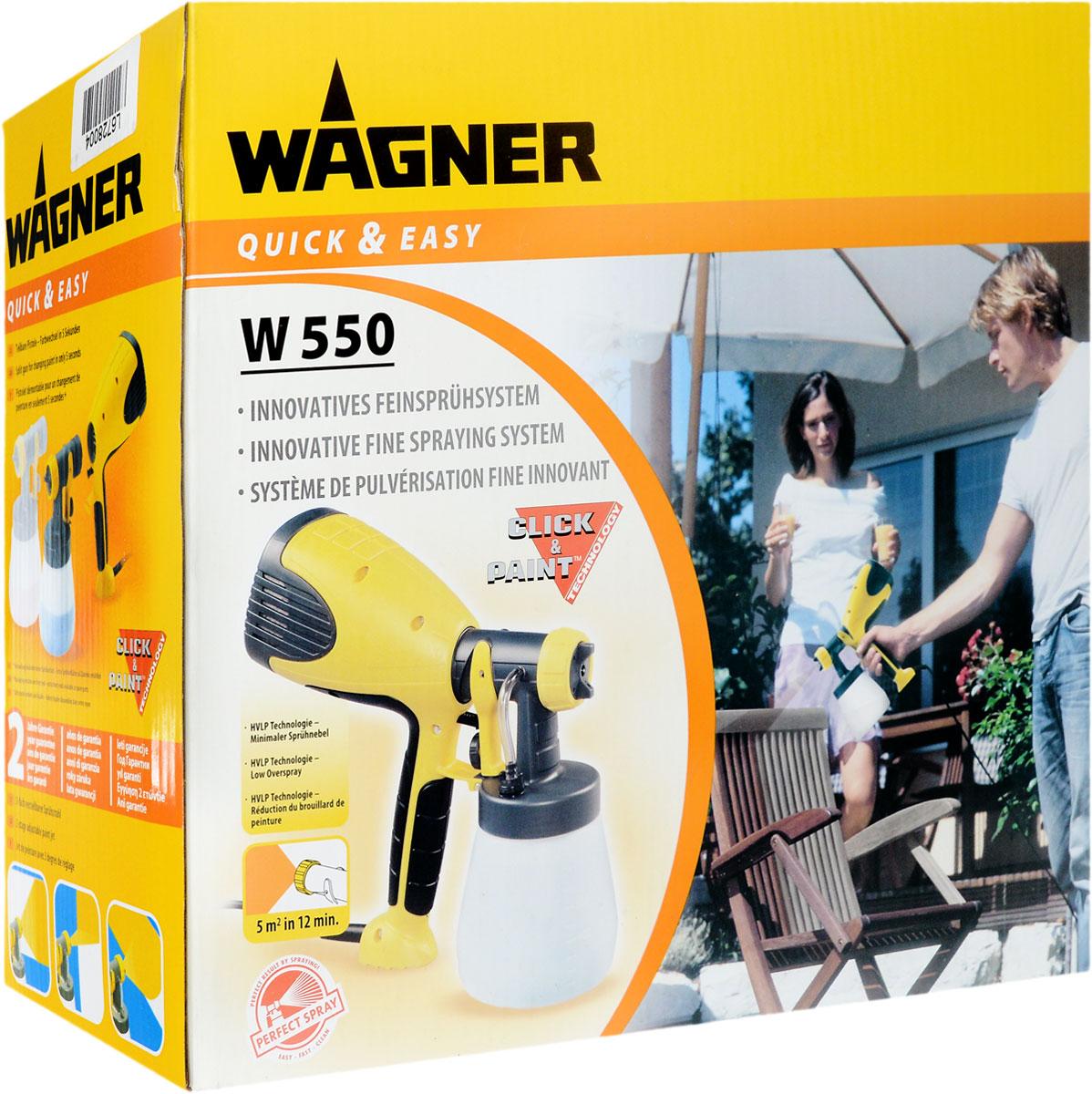 Краскопульт Wagner W55064904Краскопульт Wagner W550 предназначен для нанесения эмалей, лаков, грунтовок, средств для защиты деревянных поверхностей и других материалов. Для работы с этой тонкораспылительной системой не требуется особых навыков покраски: вы просто соединяете распылительный элемент с емкостью для краски и устройство уже готово к работе! С системой W 550 процесс покраски перестанет быть нудным, а превратится в творческое воплощение ваших бесценных идей! Особенности краскопульта: Распыление без облака - чистота окружающих предметов. Профессиональное покрытие. Точная заливка материала. Быстрая чистка. Низкий расход материала. Технология Click&Paint позволяет менять цвет и материалы одним движением. Технические характеристики: Максимальная вязкость: 90 DIN. Источник питания: 230-240 В. Потребляемая мощность: 280 Вт. Мощность распыления на выходе: 65 Вт. Уровень звукового давления: 74 дБ (А). Уровень вибрации : ...