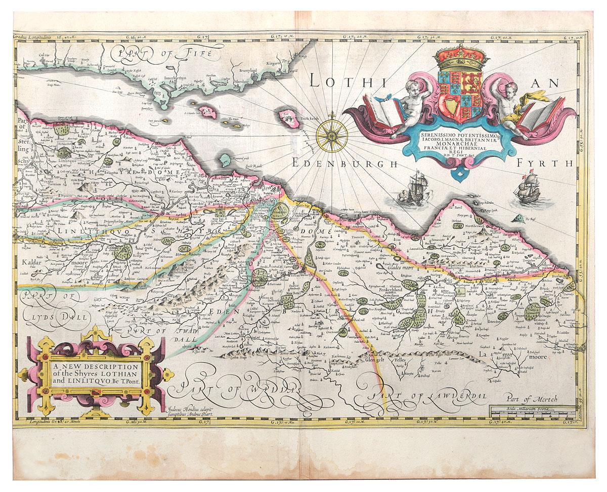 Карта Северной Англии с Эдинбургом. Гравюра, ручная раскраска. Западная Европа, первая половина XVII века