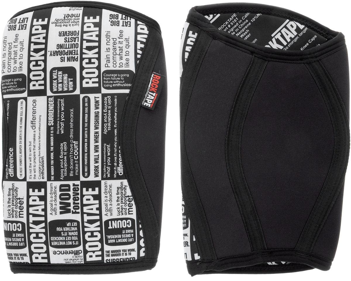 """Наколенники Rocktape """"KneeCaps"""", цвет: белый, черный, толщина 7 мм. Размер XL"""