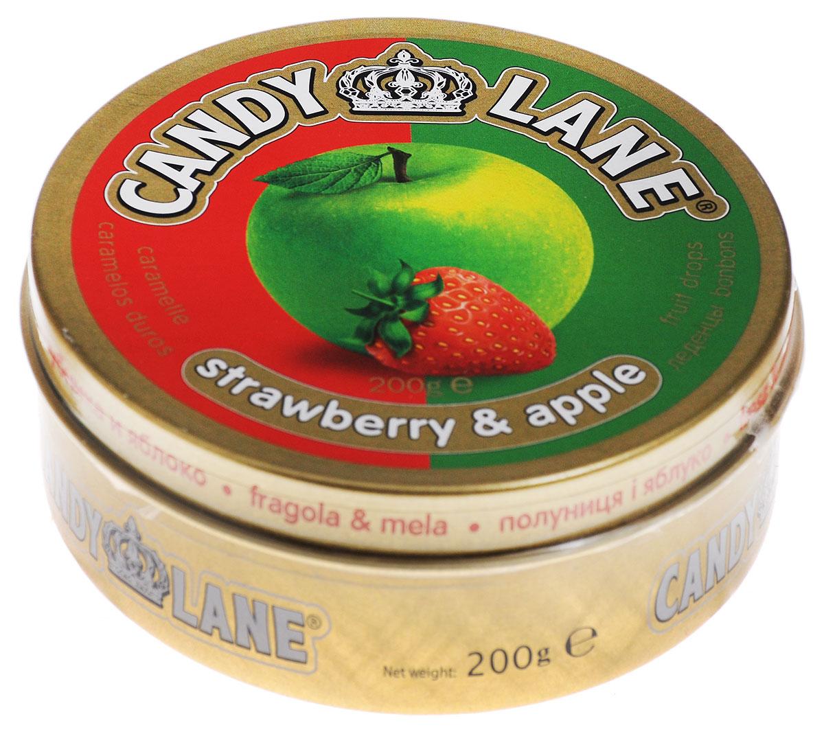 Candy Lane Клубника и яблоко фруктовые леденцы, 200 г