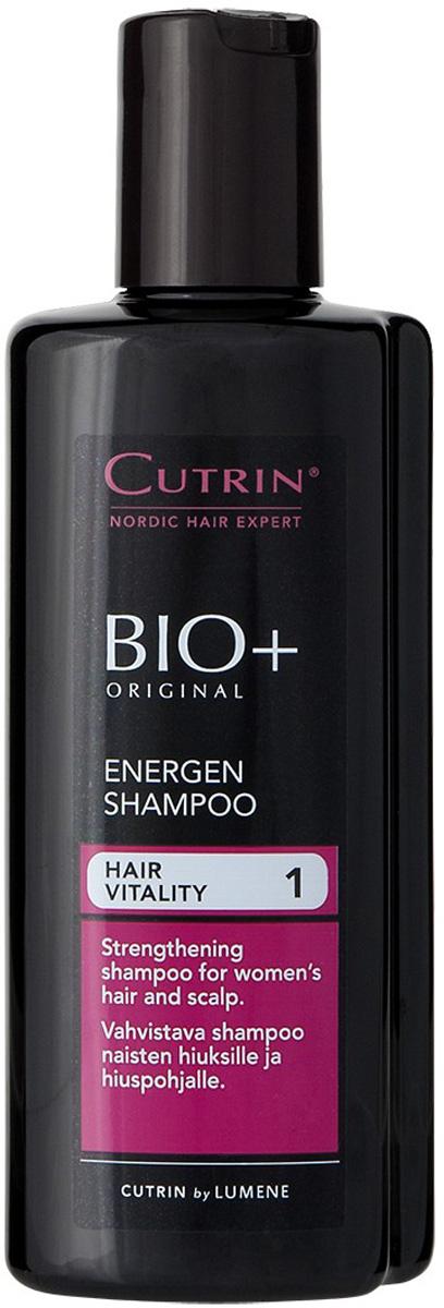 Cutrin Энергетический шампунь для женщин BIO+ Energen Shampoo, 200 млCutrin14228Укрепляющий шампунь для женщин стимулирует процесс обновления клеток и рост новых волос, а также препятствует их преждевременному выпадению. Содержит 7 разных витаминов, которые особенно важны для роста волос, включая Биотин, витамин группы H, недостаток которого приводит к выпадению волос, появлению седины и заболеваниям кожи головы. Ксилитол, лактитол и пальмовый экстракт нормализуют работу сальных желез и улучшают состояние кожи головы. Наиболее эффективно применять в комплексе со стимулирующим лосьоном BIO+ для женщин.