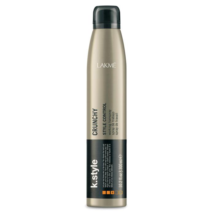 Lakme Спрей для укладки волос Crunchy Working Hairspray, 300 мл46343Спрей для укладки волос Lakme K Style Crunchy - быстросохнущий лак для мгновенной и стойкой фиксации. Позволяет создавать укладки в движении. Контроль укладки. Низкое содержание VOC (летучих органических соединений). Содержит УФ фильтры. Легко расчесывается. Древесно - травяной аромат. Степень фиксации - 3