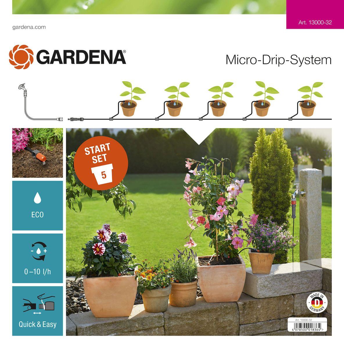 Комплект микрокапельного полива террасовый Gardena, базовый13000-32.000.00Комплект для террас Gardena предназначен для микрокапельного полива, который может применяться в различных целях. Комплект может использоваться для полива пяти горшечных растений, но в любом случае это оптимальный набор инструментов для создания базовой системы микрокапельного полива Gardena. Такие элементы позволяют создать систему для удобного полива необходимых растений. Предусмотрена возможность включения в систему дополнительных элементов. В комплект входит: - мастер-блок 1000; - переходник для шланга; - шланг подающий 10 м; - колышки для крепления шлангов 4,6 мм (3/16), 5 шт; - соединитель Т-образный 4,6 мм (3/16), 5 шт; - заглушка 4,6 мм (3/16); - регулируемая концевая капельница (0-10 л/час), 5 шт. Благодаря патентованной технологии быстрого подсоединения Quick & Easy, все элементы легко соединяются и разъединяются.