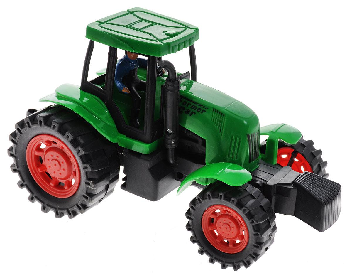 Junfa Toys Трактор инерционный цвет зеленый798-A11Инерционный трактор Junfa Toys станет отличным подарком на любой праздник. Игрушка выполнена из прочных и безопасных для ребенка материалов. Пластиковые колеса хорошо прокручиваются без какого-либо торможения и проскальзывания. У трактора имеется лестница для водителя. В кабине находится съемная фигурка. Кроме того, трактор оснащен инерционным механизмом, что сделает игру еще интереснее. Достаточно немного подтолкнуть машинку вперед или назад, а затем отпустить, и она сама поедет в ту же сторону. Порадуйте своего ребенка такой замечательной игрушкой.