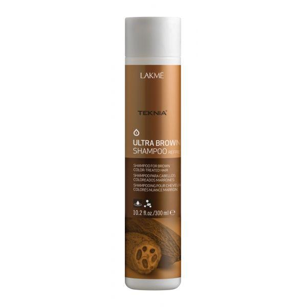 Lakme Шампунь для поддержания оттенка окрашенных волос Коричневый Shampoo, 300 мл47022Специально разработанная формула с экстрактом какао и вытяжкой семян индийской акации, которые обладают влагоудерживающими свойствами, мягко очищает волосы. Образует защитную пленку, которая предотвращает потерю цвета. Возвращает волосам мягкость, блеск и богатство оттенков. Шампунь для поддержания оттенка окрашенных волос «Коричневый» Lakme Teknia Ultra Brown Shampoo содержит WAA™ – комплекс растительных аминокислот, ухаживающий за волосами и оказывающий глубокое воздействие изнутри.