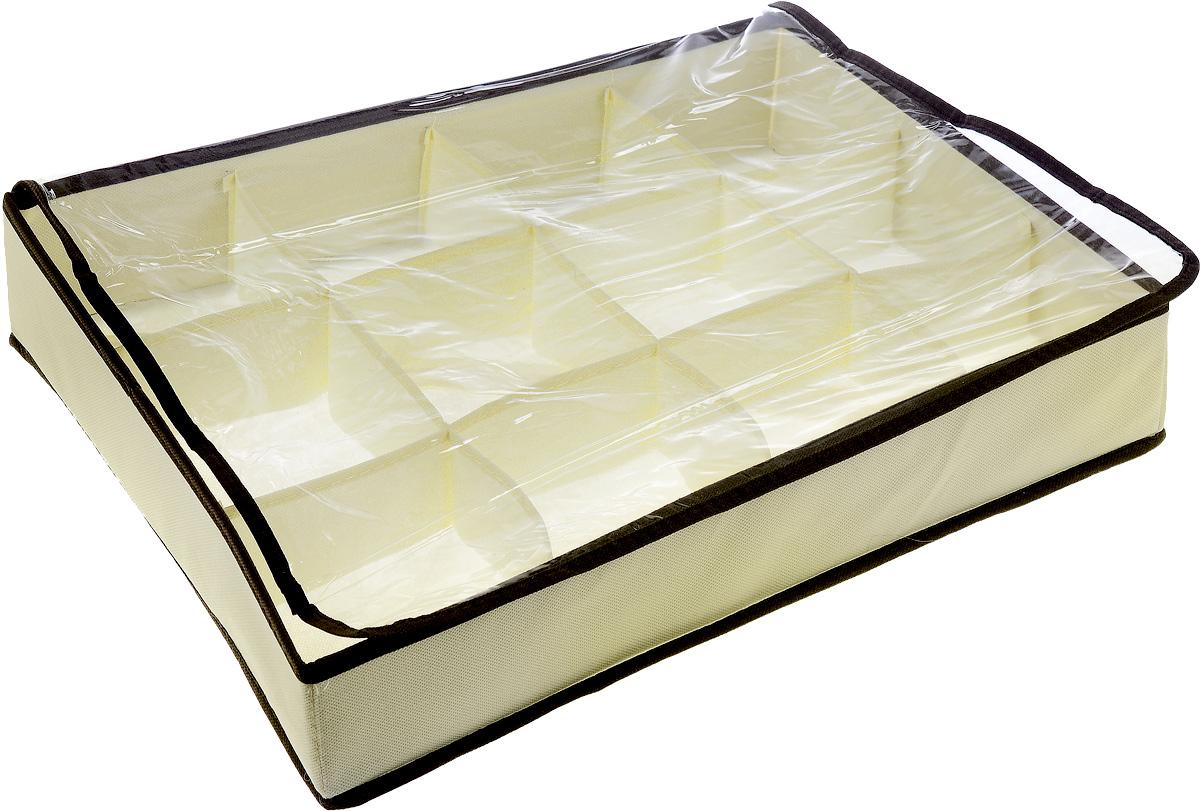 Кофр для хранения Безмятежность, 12 секций, 45 х 35 х 9 смFS-6152DКофр для хранения Безмятежность изготовлен из высококачественного нетканого полотна. Кофр имеет 12 квадратных секций, где вы можете хранить различные бытовые вещи, нижнее белье и многое другое. Вставки из картона обеспечивают прочность конструкции, на дне расположена молния. Кофр закрывается прозрачной крышкой из ПВХ. Модный цвет и качество исполнения сделают такой кофр незаменимым для хранения ваших вещей.