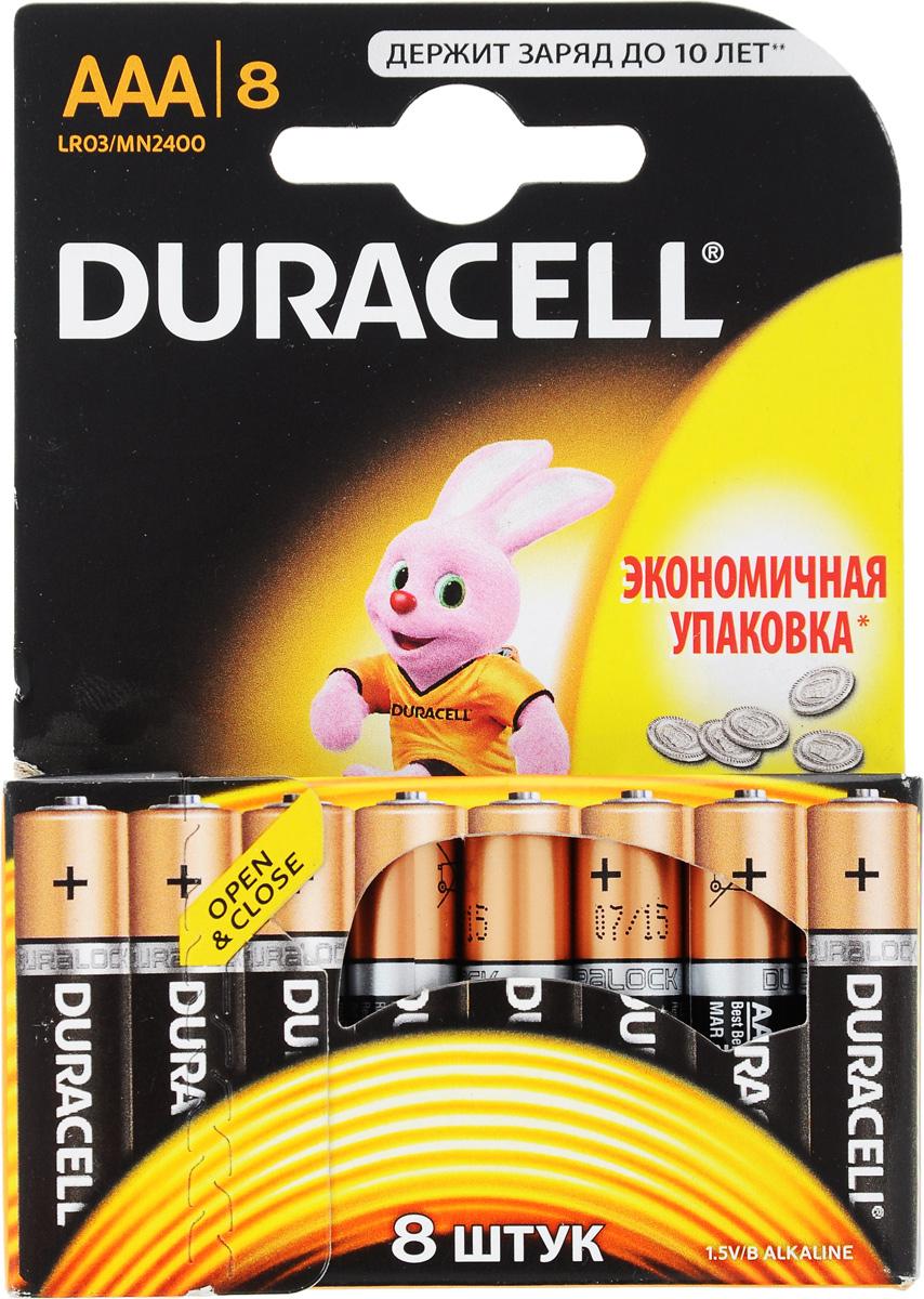 Набор алкалиновых батареек Duracell Basic, тип AAA, 8 штDRC-81480364Набор батареек Duracell Basic предназначен для использования в различных электронных устройствах небольшого размера, например в пультах дистанционного управления, портативных MP3-плеерах, фотоаппаратах, различных беспроводных устройствах. Батарейки оснащены индикатором заряда. Тип элемента питания: AAA (LR03). Тип электролита: щелочной. Выходное напряжение: 1,5 В. Комплектация: 8 шт. .