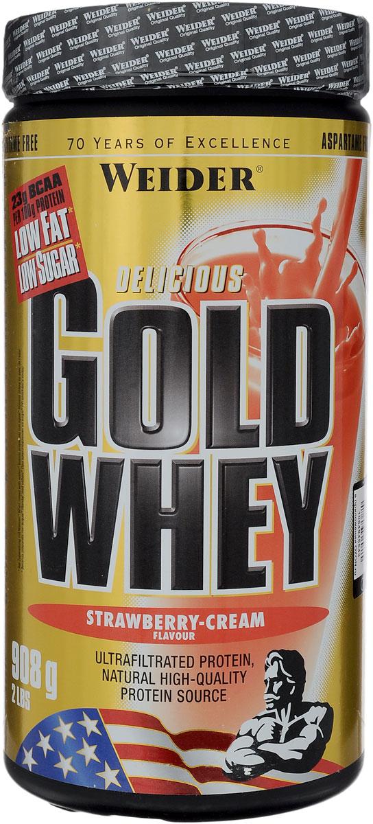 """Протеин сывороточный Weider """"Gold Whey"""", клубника-крем, 908 г"""
