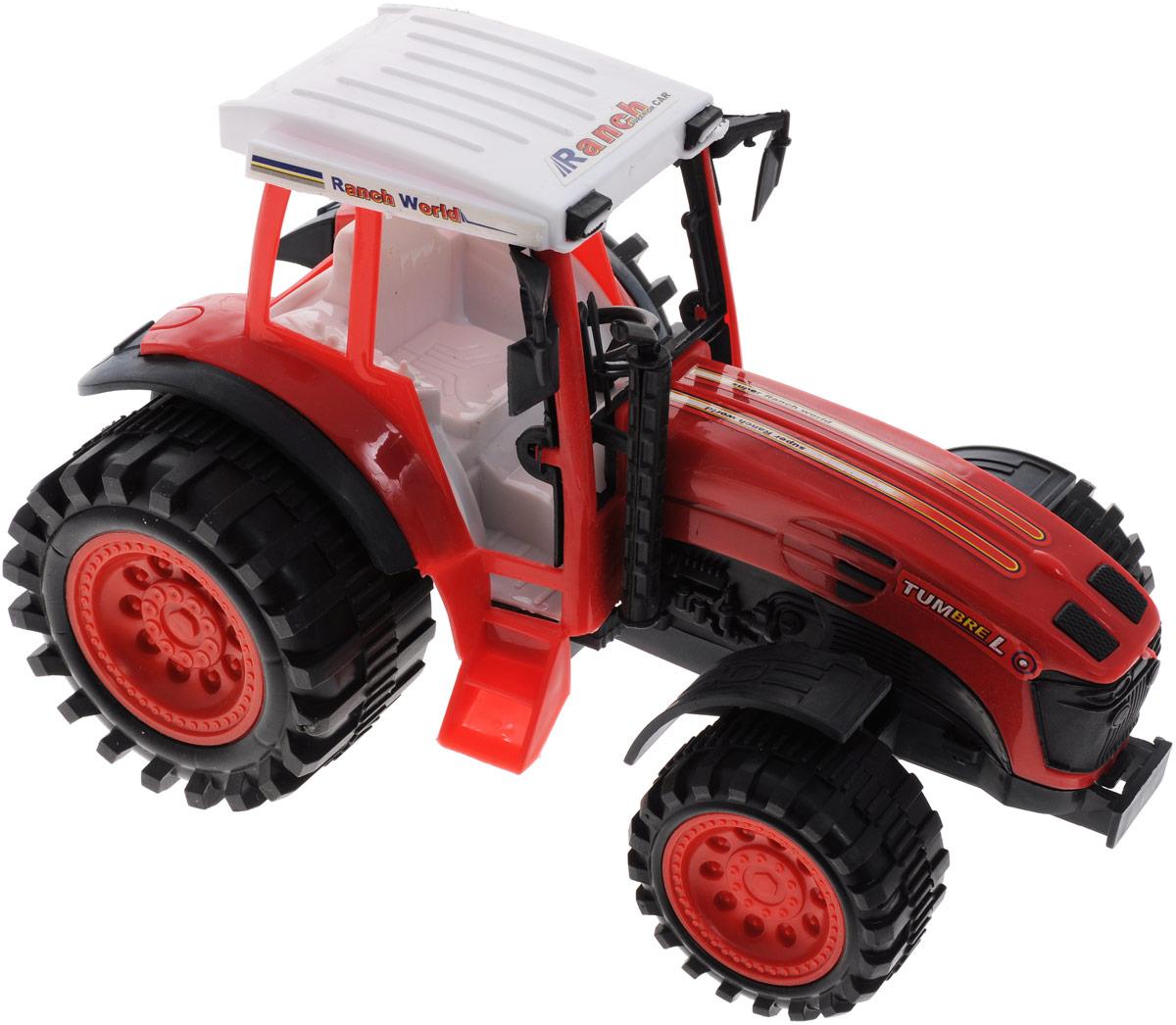 Junfa Toys Трактор инерционный Ranch World цвет красный0488-97Инерционный трактор Junfa Toys станет отличным подарком на любой праздник. Игрушка выполнена из прочных и безопасных для ребенка материалов. Пластиковые колеса хорошо прокручиваются без какого-либо торможения и проскальзывания. У трактора имеется лестница, по которой небольшая фигурка какого-либо жителя игрушечного города сможет подниматься в кабину. Кроме того, трактор оснащен инерционным механизмом, что сделает игру еще интереснее. Чтобы он самостоятельно поехал вперед, поставьте его на ровную поверхность, слегка надавите на трактор, оттяните назад и отпустите. Порадуйте своего ребенка такой замечательной игрушкой.