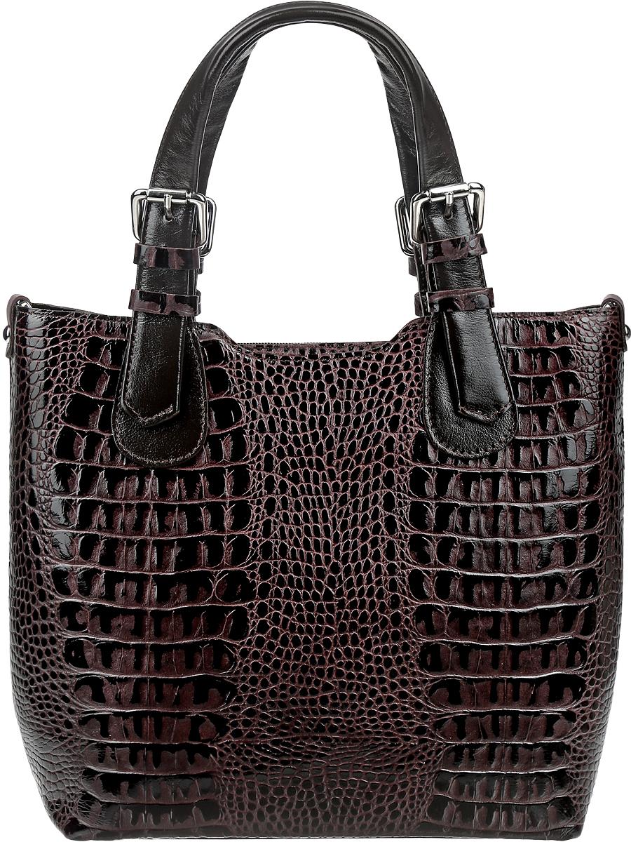 Сумка женская Afina, цвет: темно-коричневый. 108108_коричневый крокСтильная женская сумка Afina идеально завершит ваш неповторимый образ. Изделие полностью выполнено из натуральной кожи с тиснением под рептилию. На тыльной стороне расположен удобный карман на молнии. Закрывается сумка на удобную молнию. Внутри расположено главное отделение, которое разделяет карман-перегородка на молнии. Также внутри находятся один небольшой карман на молнии и два открытых кармана для телефона и мелочей. Сумка оснащена съемным плечевым ремешком, длина которого регулируется с помощью пряжки. Роскошная сумка внесет элегантные нотки в ваш образ и подчеркнет ваше отменное чувство стиля.