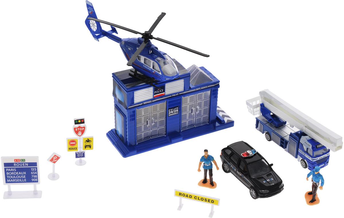Junfa Toys Игровой набор Полицейский участокJZ2136CИгровой набор Junfa Toys Полицейский участок - прекрасный подарок для вашего ребенка. В состав набора входят: полицейский участок, вертолет, машинка, автовышка, две фигурки и дорожные знаки. Все элементы набора выполнены в сине-белой цветовой гамме. Колеса машинки и автовышки оснащены свободным ходом. Используя этот комплект, можно разыграть полноценный сценарий работы полицейского управления.