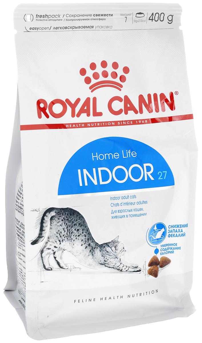 Корм сухой Royal Canin Indoor 27, для кошек в возрасте от 1 года до 7 лет, живущих в помещении, для ослабления запаха фекалий, 400 г4618Сухой корм Royal Canin Indoor 27 - полнорационное питание для кошек от 1 до 7 лет, живущих в помещении. Кошка, постоянно живущая в помещении, ограничена в движении, поэтому большую часть своего времени она тратит на сон и прием пищи. Низкая активность кошки вызывает вялую работу кишечника и, как следствие, появление жидкого стула с резким неприятным запахом. У домашних кошек повышается риск появления избыточного веса. Ежедневное вылизывание шерсти приводит к образованию волосяных комочков в желудке кошки. Ослабление запаха фекалий. Ослабляет запах фекалий кошки благодаря высокому содержанию L.I.P. Высокоперевариваемый корм Royal Canin Indoor 27 способствует значительному ослаблению запаха стула кошки в результате уменьшения выделения сероводорода - зловонного газа, выделяющегося из фекалий. Умеренное содержание энергии: способствует уменьшению жировых отложений у кошек за счет умеренного содержания калорий и добавления L-карнитина (50 ...
