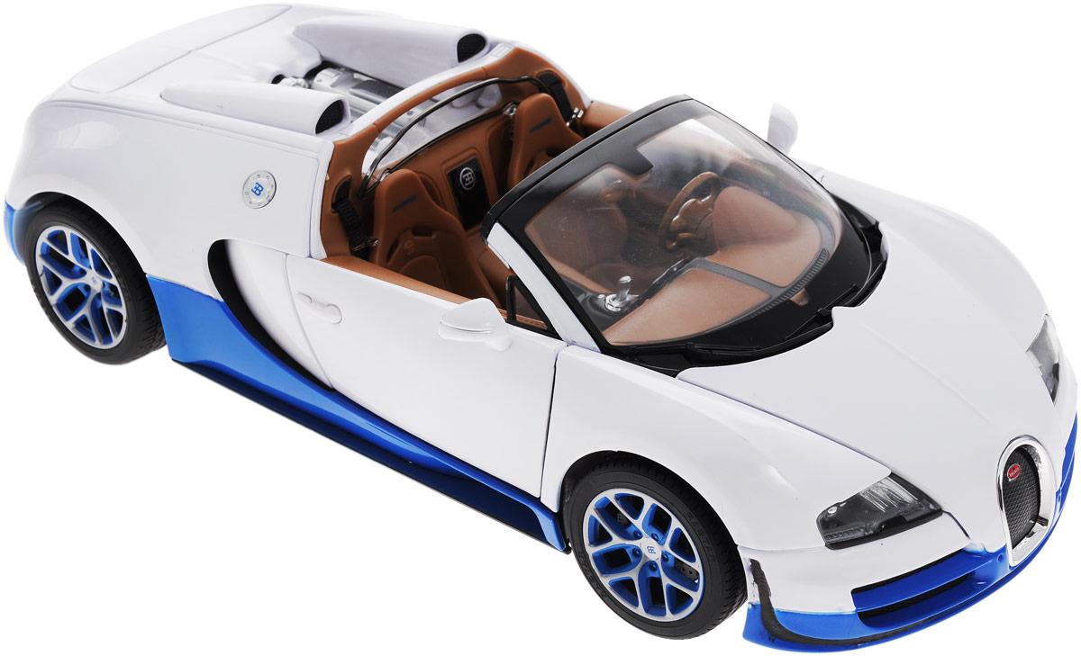 Rastar Модель автомобиля Bugatti Veyron 16.4 Grand Sport Vitesse цвет белый43900Модель автомобиля Rastar Bugatti Veyron 16.4 Grand Sport Vitesse станет отличным подарком любому мальчику! Все дети хотят иметь в наборе своих игрушек ослепительные, невероятные и крутые модели автомобилей. Тем более, если это автомобиль известной марки с проработкой всех деталей, удивляющий приятным качеством и видом. Одной из таких моделей является автомобиль Rastar Bugatti Veyron 16.4 Grand Sport Vitesse. Это точная копия настоящего авто в масштабе 1:18. Модель выполнена из прочного металла, двери и капот открываются. Авто обладает неповторимым провокационным стилем и спортивным характером. Потрясающая маневренность, динамика и покладистость - отличительные качества этой модели. Такой подарок отлично подходит в качестве коллекционного экземпляра.