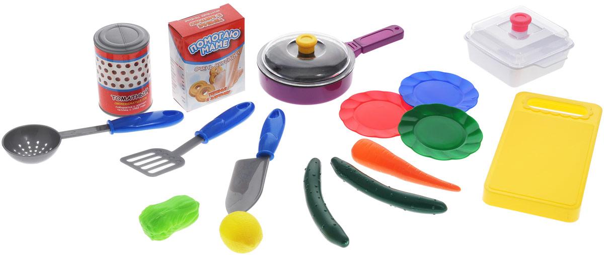 ABtoys Игрушечный кухонный набор с продуктами 15 предметовPT-00195Игрушечный кухонный набор с продуктами ABtoys идеально подойдет для использования на детской кухне. В набор входят 3 тарелки, нож, разделочная доска, лопатка, шумовка, сковорода, масленка, томатная паста, печенье, салат, лимон, морковь, огурец. Набор будет прекрасным дополнением для игрушечной кухни и поможет ребенку в игровой форме осваивать навыки хорошей хозяйки. Сюжетно-ролевые игрушки развивают когнитивные и тактильные навыки, способствуют развитию интеллекта.