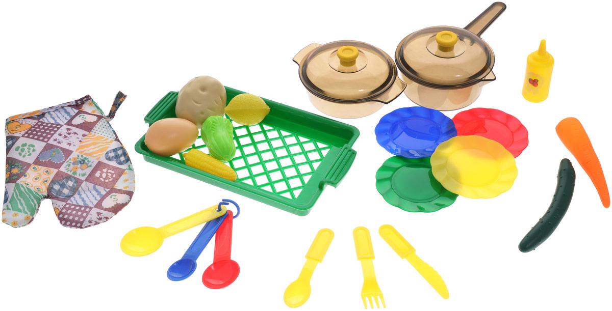 ABtoys Игрушечный кухонный набор с продуктами 22 предметаPT-00194Игрушечный кухонный набор с продуктами ABtoys прекрасно подойдет ребенку для веселых игр. Набор включает в себя посуду, которая находится на любой кухне. Предметы набора выполнены из высококлассного и безопасного пластика. В состав набора входят 4 тарелки, 3 круглые ложки, нож, вилка, ложка, прихватка, контейнер для овощей, кастрюля с крышкой, кастрюля с длинной ручкой с крышкой, яйцо, кукуруза, горчица, салат, лимон, морковь, картофель. Такой набор станет прекрасным дополнением к игровой ситуации с приглашением гостей.