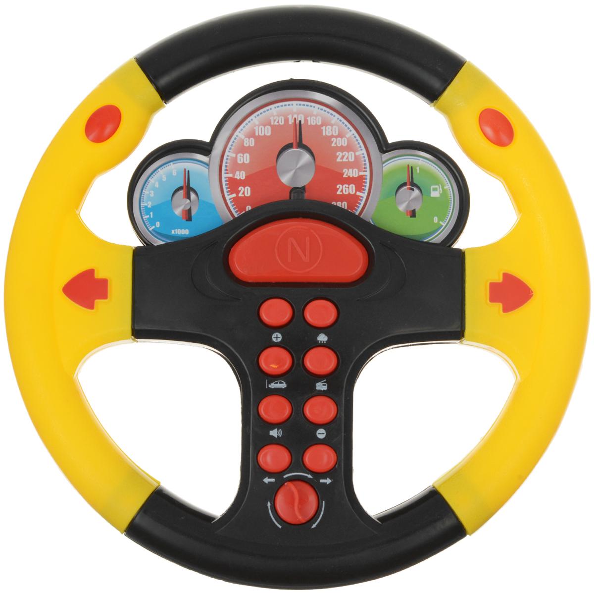 ABtoys Игрушечный музыкальный руль цвет черный желтый красныйPT-00419Игрушечный музыкальный руль ABtoys со световыми и звуковыми эффектами не оставит равнодушным вашего юного автолюбителя. Теперь ваш ребенок сможет фантазировать и представлять себя водителем в любом месте: и дома, сидя на стуле, и на заднем сиденье автомобиля во время поездки. Руль выполнен из безопасного для ребенка материала. Порадуйте свое драгоценное чадо столь интересным, занимательным и развлекательным подарком. Необходимо купить 3 батарейки напряжением 1,5V типа АА (не входят в комплект).