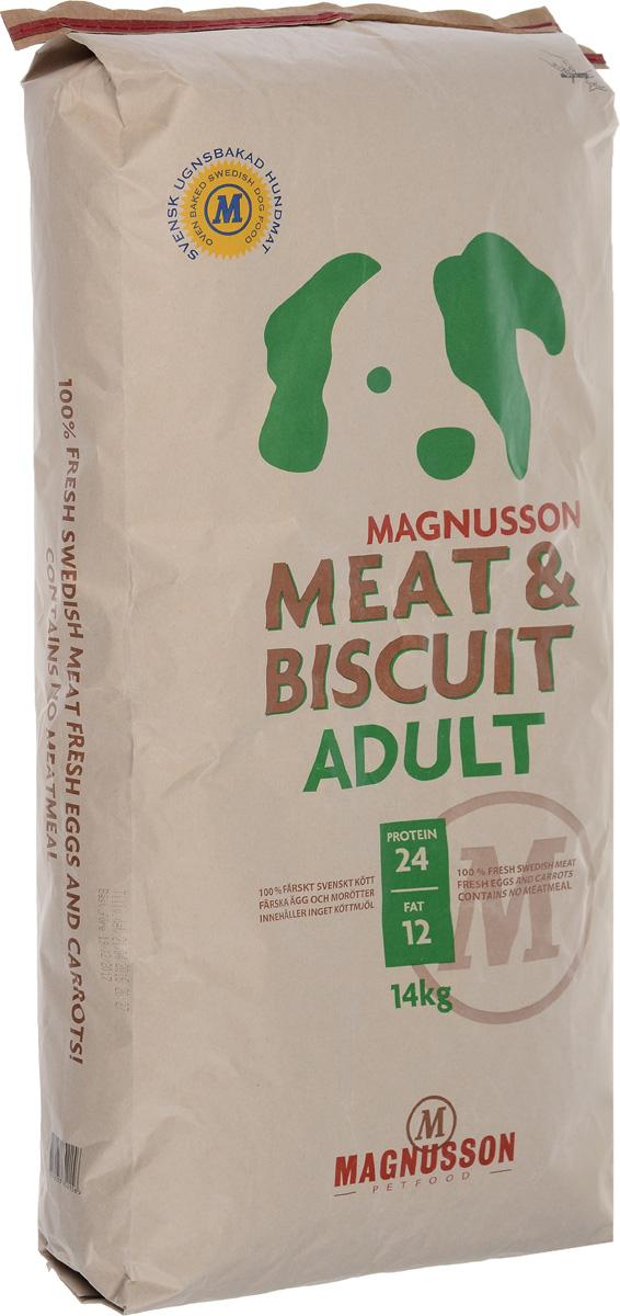 Корм сухой Magnusson Adult для взрослых собак с нормальным уровнем активности, 14 кг7350033852156Основными преимуществами корма Magnusson Adult является простой и понятный состав, а так же отсутствие каких-либо химических добавок и консервантов. Данный корм - это полноценное и сбалансированное питание для здоровья вашей собаки на долгие годы. Источником животного белка является филейная часть говядины (44% свежего мяса) без добавления мясной, рыбной, куриной муки или субпродуктов. Свежие яйца в сочетании с говядиной обеспечивают лучшее качество белка. Свежая морковь, также входящая в состав корма, является источником витамина А, регулирует углеводный обмен и оказывает положительное воздействие на работу пищеварительной системы вашей собаки. Источником углеводов является пшеница грубого помола, выращенная без применения удобрений и пестицидов. Пшеница является растительным продуктом с высокой усвояемостью, обеспечивает энергетические нужды организма, а также помогает синтезу аминокислот и ДНК - носителя генетической информации. Собаки нуждаются в...