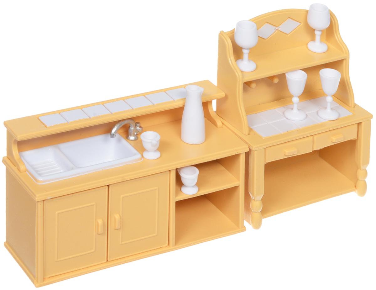 ABtoys Набор мебели для кухни и столовой цвет желтый белыйPT-00305Если ваш ребёнок уже является счастливым обладателем фигурок из серии Счастливые друзья, то ему не обойтись без мебели для них. Ведь благодаря этому набору мебели кроха сможет дополнить обстановку кухни для своих маленьких фигурок. В комплекте кухонный гарнитур с краном, комод, 6 бокалов, графин. У кухонного гарнитура предусмотрена игрушечная мойка, двери шкафчика открываются. Комод дополнен двумя выдвижными ящичками. Фигурки животных не предусмотрены в наборе, приобретаются дополнительно. Предметы мебели изготовлены из нетоксичного пластика высокого качества, который устойчив к ударам и деформациям. Составляющие комплекта окрашены стойкими безопасными для детей красителями, которые не истираются с поверхности долгое время. Игра с таким набором развивает мелкую моторику, воображение и навыки визуализации. Набор мебели поможет разнообразить игровой сюжет с фигурками животных из серии Счастливые друзья.