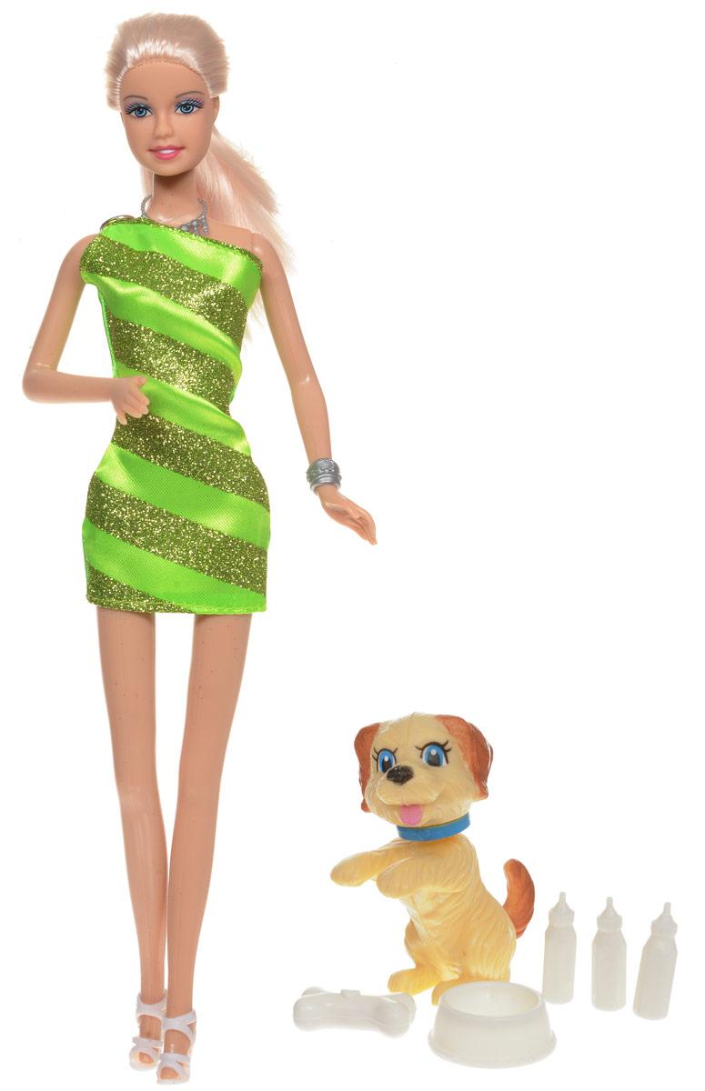 Defa Кукла Lucy с питомцем цвет платья салатовый8232dКуклы тоже любят домашних животных! Вот и очаровательная Lucy решила завести веселого щенка, чтобы заботиться о нем, кормить, играть и выгуливать. Куколка одета в стильное салатовое платье и белые босоножки на каблуках. Светлые волосы Lucy убраны в хвост. К кукле прилагаются очаровательный щенок и аксессуары для ухода за ним (картонная будка, миска, кость и три бутылочки для кормления). Все элементы набора выполнены из качественных и безопасных материалов. Игры с куклой способствуют эмоциональному развитию, помогают формировать воображение и художественный вкус, а также разовьют в вашей малышке чувство ответственности и заботы. Великолепное качество исполнения делают эту куколку чудесным подарком к любому празднику.