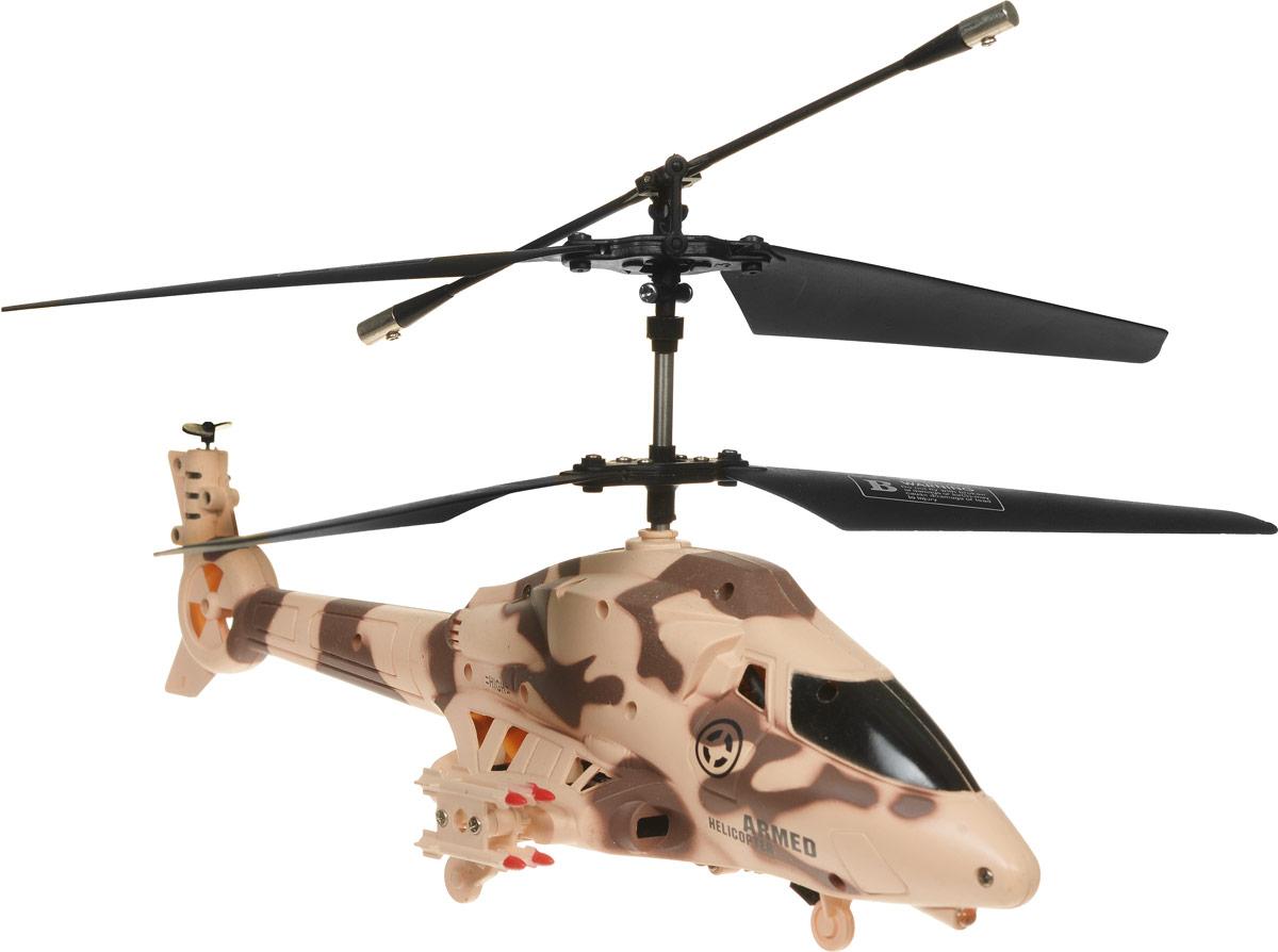 ABtoys Вертолет на инфракрасном управлении Armed цвет бежевый коричневыйC-00101Вертолет ABtoys Armed на инфракрасном управлении со встроенным гироскопом отлично подходит для полетов в закрытых помещениях и на улице в безветренную погоду. Гироскоп предназначен для курсовой стабилизации полета. Игрушка выполнена из прочного пластика с металлическими элементами. Вертолет стабилен в воздухе и легко управляется. Пульт управления позволяет вертолету двигаться вверх-вниз, вперед-назад, влево-вправо, вращаться на 360 градусов и зависать в воздухе. Вертолет имеет 3,5 канала управления. Вертолет обладает световыми эффектами и стреляет ракетами (входят в комплект). Радиус действия пульта управления составляет 8 метров. Эта увлекательная игрушка понравится не только детям, но и взрослым, и подарит вам множество счастливых мгновений. Игрушка великолепно развивает важные навыки, такие как мышление, наблюдательность, зрительно-моторную координацию. Вертолет работает от встроенного аккумулятора. Зарядка аккумулятора может производиться как от пульта...
