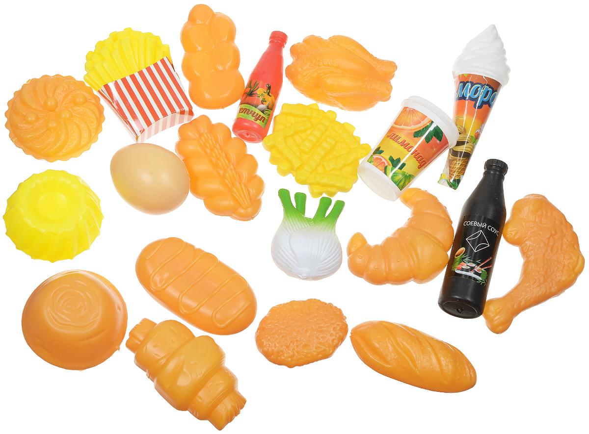 ABtoys Игрушечный набор продуктов 20 предметовPT-00322Игрушечный набор продуктов ABtoys может стать замечательным дополнением к коллекции игрушечной еды и посуды. В комплект входят двадцать достаточно редких продуктов, которые находятся далеко не в каждом наборе, например, картофель фри и мороженое, много видов выпечки, лимонад и даже куриное яичко. Все предметы набора выполнены из качественного и безопасного пластика, полностью безопасны для детей. С таким дополнением к детской кухне девочка станет самой настоящей маленькой хозяюшкой, и с удовольствием накормит обедом не только кукол, но и всю семью.