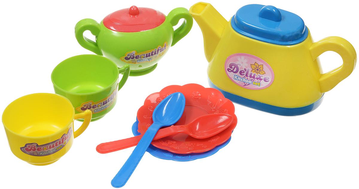 ABtoys Игрушечный кухонный набор цвет чайника желтый 8 предметов ( PT-00204ст )