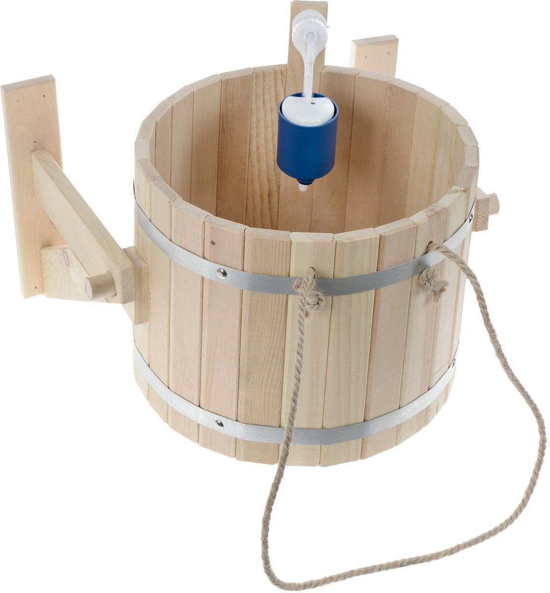Обливное устройство Доктор баня, 20 л904401Обливное устройство Доктор баня состоит из деревянной емкости, двух кронштейнов и впускного клапана для воды. Обливное устройство изготовлено из деревянных шпунтованный клепок, склеенных между собой водостойким клеем и стянутых двумя обручами из нержавеющей стали. Внутри и снаружи устройство покрыто экологически безопасной мастикой на основе природного воска, который обеспечивает высокую степень защиты древесины от воздействия воды. Обливное устройство может монтироваться как к стенам, так и к потолку помещения. Обливное устройство предназначено для контрастного обливания после высоких температур парной в банях и саунах. Обливные устройства используются как внутри бани, так и снаружи. Рекомендуется периодически проверять прочность узловых соединений и надежность крепления к стене. Характеристики: Материал: дерево (кедр), металл, текстиль. Объем емкости: 20 л. Диаметр емкости: 34 см. Высота стенок емкости: 31 см.