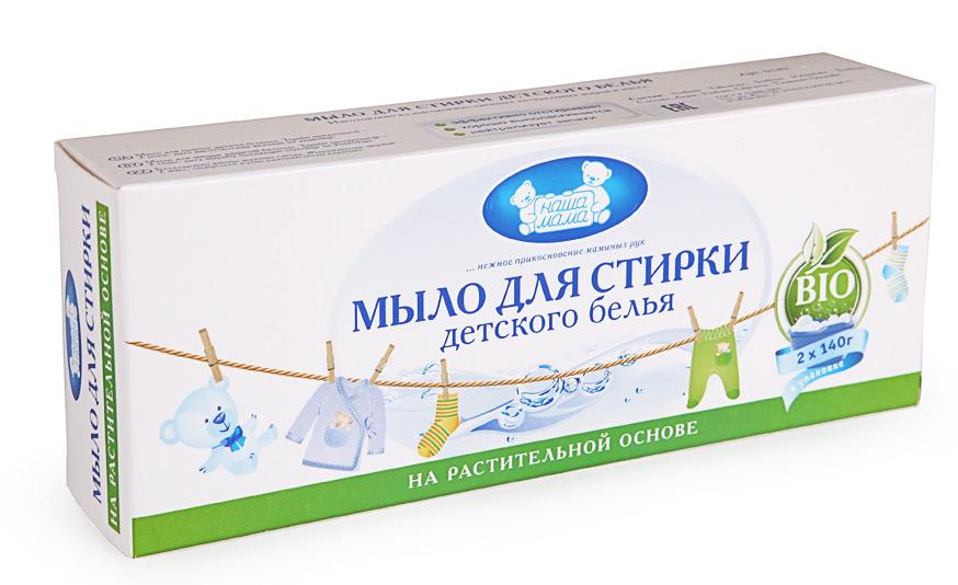 Наша Мама Мыло для стирки детского белья 280 г0142Мыло для стирки детского белья на растительной основе изготовлено из высококачесвтенных натуральных жиров и масел, эффективно отстирывает, хорошо выполаскивается, нейтрализует запахи