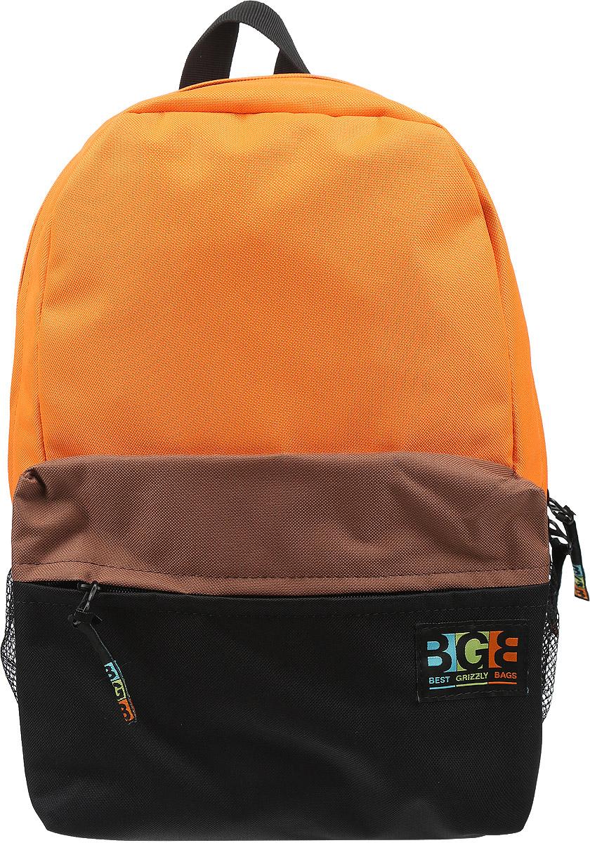 Рюкзак Grizzly, цвет: оранжевый, черный, коричневый. RD-644-2/2RD-644-2-2Яркий рюкзак Grizzly не оставит вас равнодушными. Он выполнен из качественного плотного полиэстера в комбинированных цветах. Рюкзак оформлен фирменной нашивкой на переднем кармане. На лицевой стороне расположен небольшой удобный карман на молнии. С боковых сторон находятся сеточные карманы для переноса бутылок с водой. На тыльной стороне расположен вшитый карман на молнии. Внутри находится основное отделение, в котором расположен открытый карман для мелочей. Рюкзак оснащен удобными лямками, длина которых регулируется с помощью пряжек. Такой качественный и модный рюкзак займет достойное место в вашем гардеробе.
