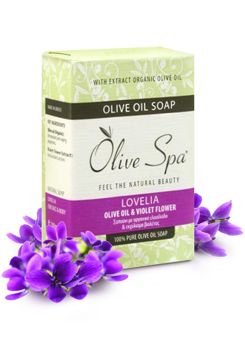 Olive Spa Мыло оливковое натуральное Lovelia с экстрактом цветков фиалки, 100 г805Натуральное мыло для рук и лица, которое сочетает антиоксидантное и омолаживающее действие оливкового масла и антимикробные свойства экстракта фиалки.