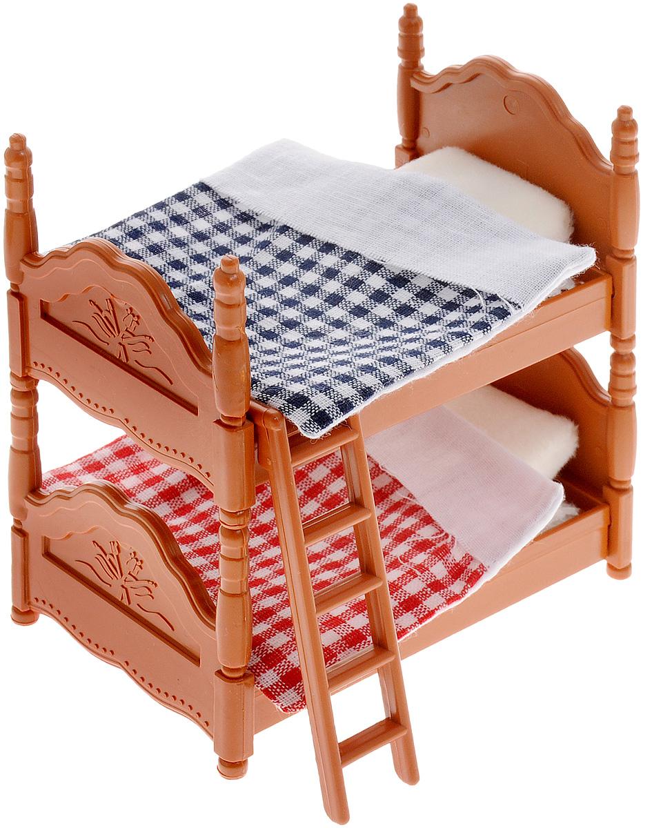 ABtoys Набор мебели для спальни Счастливые друзьяPT-00303Если у вашего ребенка есть коллекция миниатюрных фигурок в виде миловидных животных из серии Счастливые друзья, то ему обязательно понравится такой функциональный подарок как этот набор мебели для спальни. Ведь теперь герои смогут уютно расположиться в кровати и сладко спать. Причем это будет выглядеть очень реалистично благодаря постельному белью из комплекта. В наборе предусмотрена двухъярусная кровать с лестницей, на которой можно разместить героев игры, а также одеяла и подушки для них. Фигурки животных не предусмотрены в наборе, приобретаются дополнительно. Придумывая интересный сюжет для игры с использованием аксессуаров из набора, ребенок не только интересно проведет свой досуг, но и разовьет фантазию и мелкую моторику рук. Предметы мебели изготовлены из нетоксичного пластика высокого качества, который устойчив к ударам и деформациям, а постельные принадлежности - из гипоаллергенного текстиля.