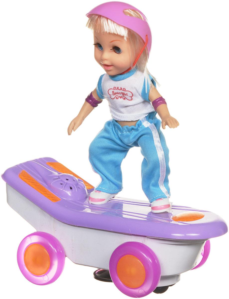 Bradex Мини-кукла Скейтбордистка МоллиDE 0164Кто сказал, что девочки должны играть только с куклами, а мальчики - с машинками? Ведь и тем, и другим иногда так хочется поменяться игрушками! Мини-кукла Bradex Скейтбордистка Молли - это чудесное сочетание машинки и модной куклы. Модная девочка-подросток на скейтборде умеет двигаться во всех направлениях. Во время движения играет музыка и мигают огоньки на скейтборде. Игрушка выполнена из качественных и безопасных материалов. Необходимо купить 3 батарейки напряжением 1,5V типа АА (не входят в комплект).