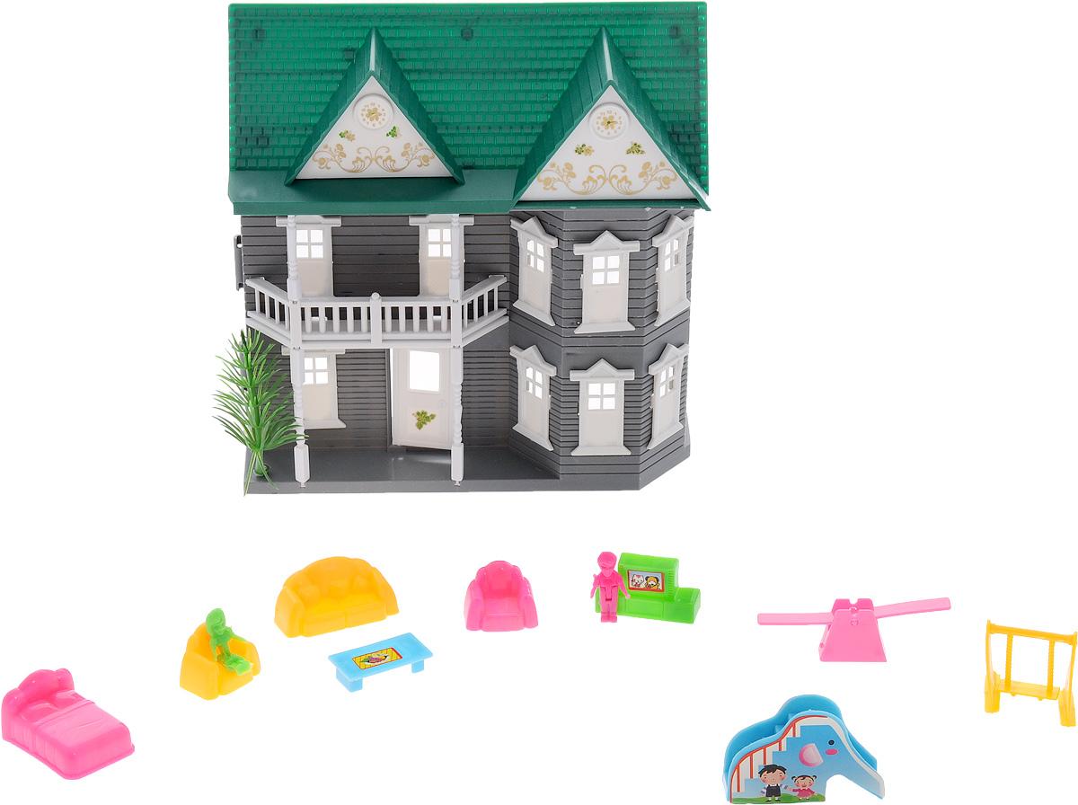 ABtoys Дом для кукол цвет серый белый зеленыйPT-00137(08008A-1)стШикарный дом для маленьких кукол ABtoys привлечет внимание вашей малышки и не позволит ей скучать. Комплект включает в себя пластиковый двухэтажный домик, кровать, 3 дивана, 2 маленькие куклы, тумбу с телевизором, чайный столик, 2 качели, горку. Прекрасный дом оснащен окошками, балконами и открывающейся дверью. Такой набор придется по душе вашему ребенку. Порадуйте свою принцессу таким замечательным подарком!