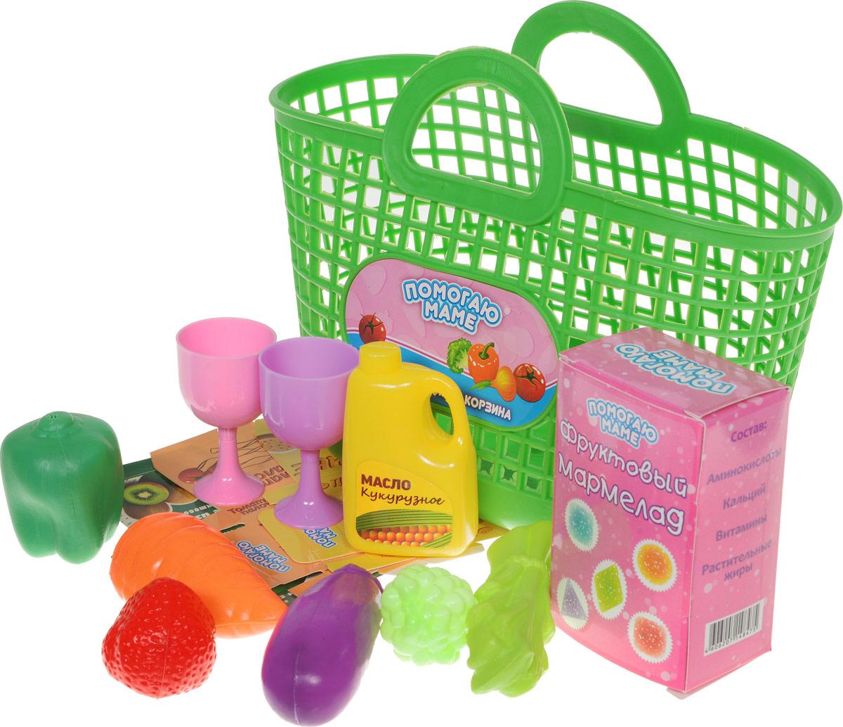 ABtoys Набор продуктов в корзине 14 предметов цвет зеленый