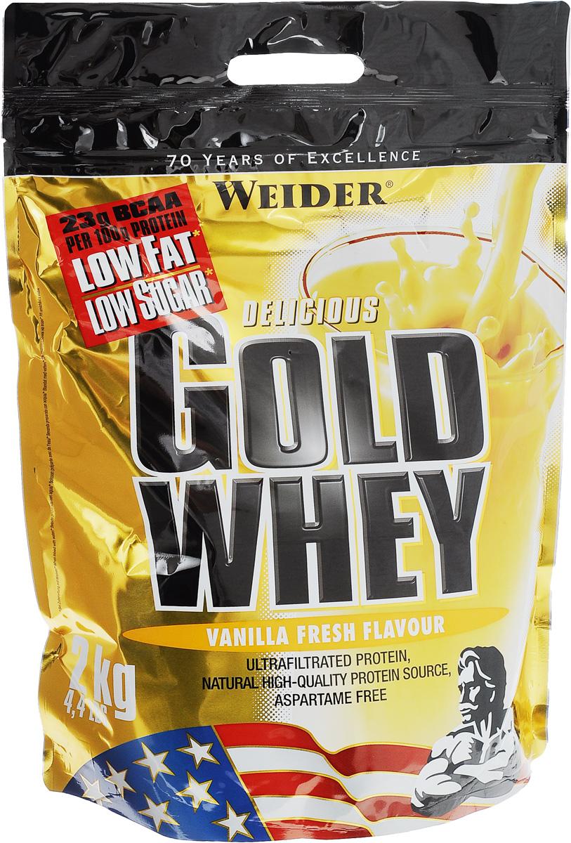 Протеин сывороточный Weider Gold Whey, со вкусом ванили, 2 кг31209Протеин Weider Gold Whey - это протеиновый порошок с концентратом сывороточного протеина, который обладает приятным вкусом и отвечает всем физиологическим потребностям. Сывороточный белок обладает наивысшей биологической ценностью, лучше всего переносится организмом и дает прирост чистой мышечной массы. В качестве сырья используется микрофильтрованный протеин, который не выносит высоких температур и высокого давления. В состав продукта входят важнейшие аминокислоты с разветвленной структурой (BCAA), которые не дадут вашим мышцам мучиться от катаболизма, и глютамин. Gold Whey также содержит глобулин и гликомакропептиды, которые являются биологически активными веществами. Они способствуют укреплению здоровья подобно пробиотикам или Омега-3 жирным кислотам. В Gold Whey содержатся бета- и альфа-лактоглобулины, которые регулируют кислотно-щелочной баланс и являются поставщиками энергии. Иммуноглобулины укрепляют защитные силы организма, а гликомакропептиды...