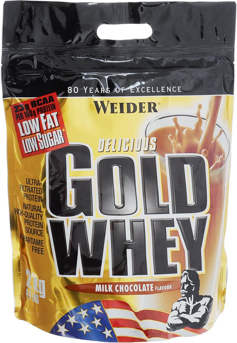 Протеин сывороточный Weider Gold Whey, со вкусом молочного шоколада, 2 кг31219Протеин Weider Gold Whey - это протеиновый порошок с концентратом сывороточного протеина, который обладает приятным вкусом и отвечает всем физиологическим потребностям. Сывороточный белок обладает наивысшей биологической ценностью, лучше всего переносится организмом и дает прирост чистой мышечной массы. В качестве сырья используется микрофильтрованный протеин, который не выносит высоких температур и высокого давления. В состав продукта входят важнейшие аминокислоты с разветвленной структурой (BCAA), которые не дадут вашим мышцам мучиться от катаболизма, и глютамин. Gold Whey также содержит глобулин и гликомакропептиды, которые являются биологически активными веществами. Они способствуют укреплению здоровья подобно пробиотикам или Омега-3 жирным кислотам. В Gold Whey содержатся бета- и альфа-лактоглобулины, которые регулируют кислотно-щелочной баланс и являются поставщиками энергии. Иммуноглобулины укрепляют защитные силы организма, а гликомакропептиды...