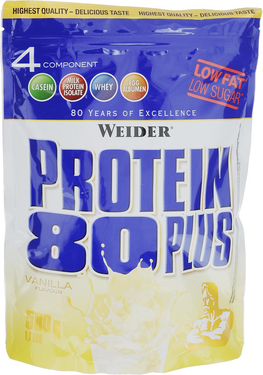 Протеин Weider Protein 80 Plus, ваниль, 500 г30105Протеин Weider Protein 80 Plus - это четырехкомпонентная белковая смесь с высокой биологической ценностью. Содержит 4 вида белка: изолят молочного белка, казеин, сыворотка, яичный альбумин. У каждого из этих белков своя скорость усвоения, что способствует постоянному и равномерному поступлению аминокислот в кровь. Препарат обеспечивает пиковую аминоконцентрацию уже в первые 60 минут после применения и поддерживает ее на протяжении 5 часов. Поэтому мышцы быстро растут и восстанавливаются, при этом растет сила и выносливость спортсмена. Этот протеиновый коктейль создан как дополнение к питанию с целью увеличения количества белка в дневном рационе. Состав: казеинат кальция, концентрат сывороточного протеина, изолят молочного протеина, сухой яичный белок, ароматизатор, загуститель: гуаровая камедь; подсластители: ацесульфам К, аспартам; карбонат кальция, антиоксидант: аскорбиновая кислота; витамин В6. Содержит источник фенилаланина. Содержит лактозу. Может...