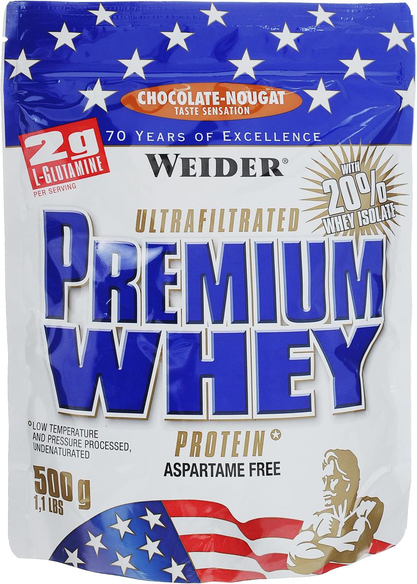 Протеин сывороточный Weider Premium Whey, шоколад-нуга, 500 г30045Протеин Weider Premium Whey - это порошок для приготовления напитка на основе сывороточного протеина, содержит L-глутамин, витамин В6, кальций и подсластители. Отличное диетическое питание для спортсменов, предназначенное для компенсации расходов при интенсивной мышечной нагрузке. Сывороточный протеин обладает приятным вкусом и наивысшей биологической ценностью, отвечает всем физиологическим потребностям, лучше всего переносится организмом и дает прирост чистой мышечной массы. В качестве сырья используется микрофильтрованный протеин, который не выносит высоких температур и высокого давления. В состав продукта входят важнейшие аминокислоты с разветвленной структурой (BCAA), которые не дадут вашим мышцам мучиться от катаболизма, и глутамин. Premium Whey также содержит глобулин и гликомакропептиды, которые являются биологически активными веществами. Они способствуют укреплению здоровья подобно пробиотикам или Омега-3 жирным кислотам. В Premium Whey ...